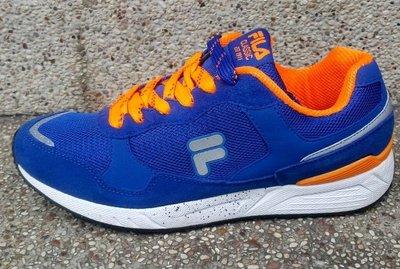 *鞋率*FILA 男款復古超纖鞋面高耐磨 慢跑鞋 運動鞋 休閒-藍橘 編BK502