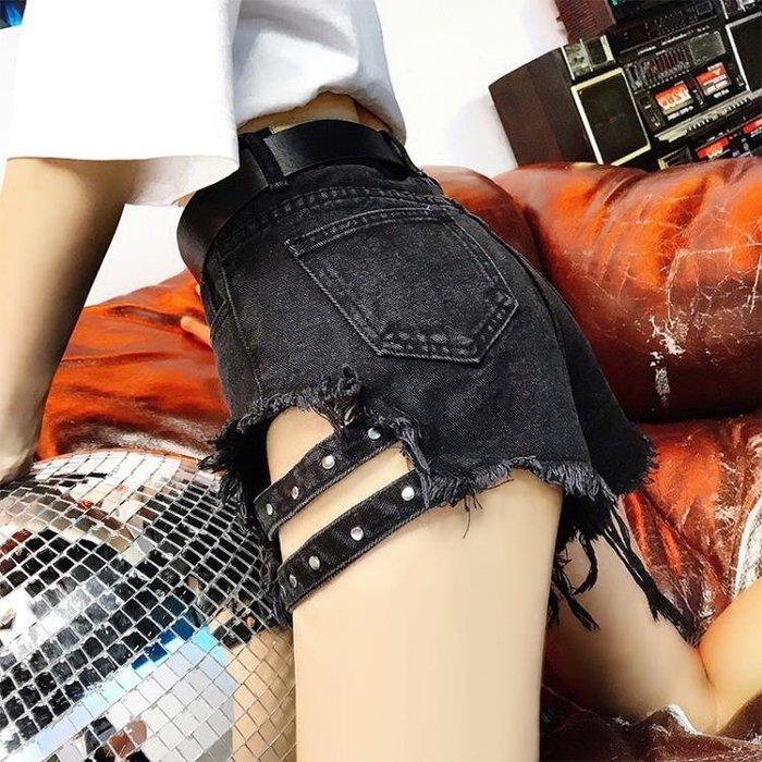 【瘋狂夏折扣】短褲夏季韓版黑色顯瘦a字高腰牛仔短褲女寬松網紅百搭毛邊闊腿熱褲潮
