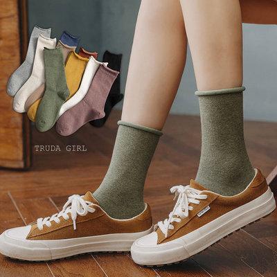 老闆不賣了!秋冬日系卷卷邊堆堆襪 ins精梳棉純色中筒襪 棉質 純色 素面 素色 女襪 長統襪 中長襪 襪子-杜達女孩 台中市