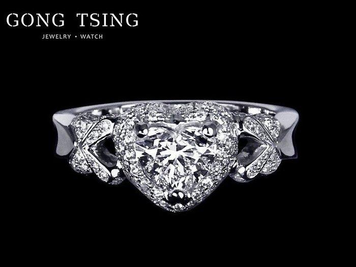 【公信精品】GIA 心型 1.01克拉 D/VS2 全新訂製 白K金 天然鑽石女鑽戒 戒指 花切心型 附GIA證書~
