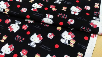 豬豬日本拼布 限量版權卡通布 三麗鷗Hello Kitty與小熊經典款 牛津布厚棉布料材質