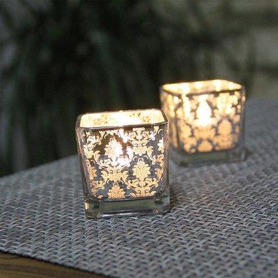 熱銷#簡約歐式花銀色方形玻璃小燭臺 浪漫燭光晚餐酒吧西餐廳裝飾擺設#燭臺#裝飾