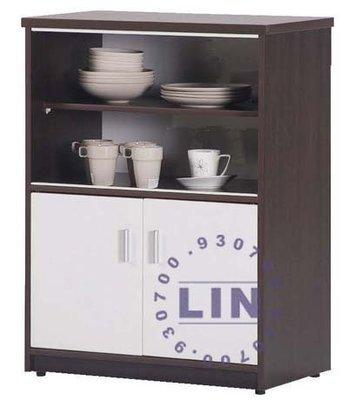 【品特優家具倉儲】835-01收納櫃塑鋼碗碟櫃C-142胡桃/白