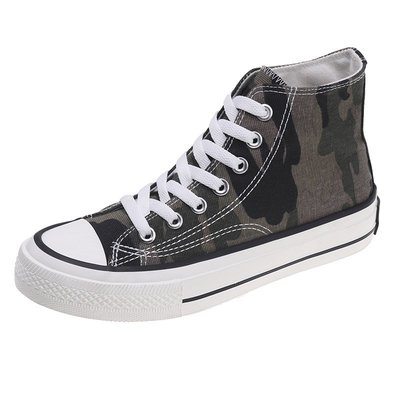 帆布鞋 網紅高筒帆布鞋男迷彩男鞋潮流新款春秋季鞋子男韓版百搭板鞋 精品鞋包