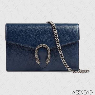 【WEEKEND】 GUCCI Dionysus Mini Chain 迷你 皮夾 肩背包 藍色 401231