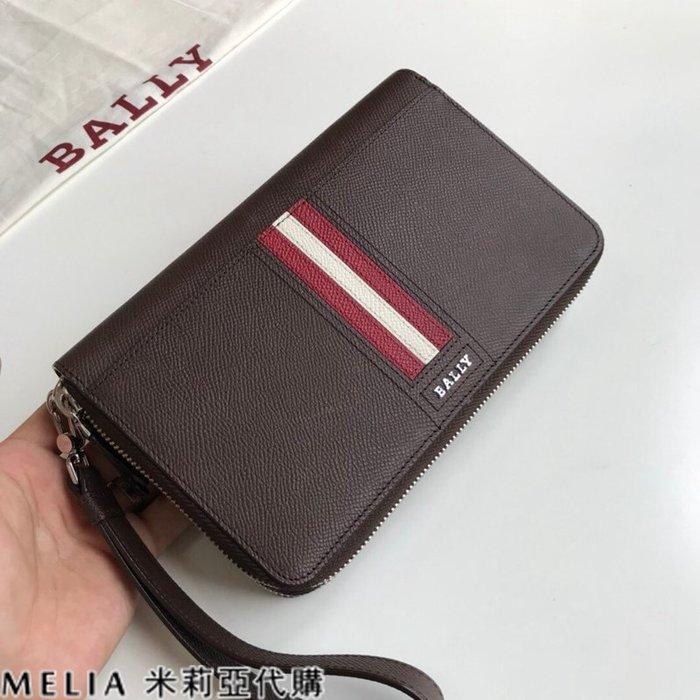 Melia 米莉亞代購 美國代買 BALLY 貝利 男士款 雙拉鍊 手拿包 20多個卡位 2個零錢袋 商務人士必備 棕色