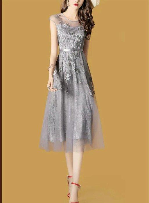 歐美 短袖 洋裝 連身裙 網紗 雪紡 銀灰 禮服 宴會 大尺碼可 絕美 名媛 正式  活動 主持 Me  Gusta