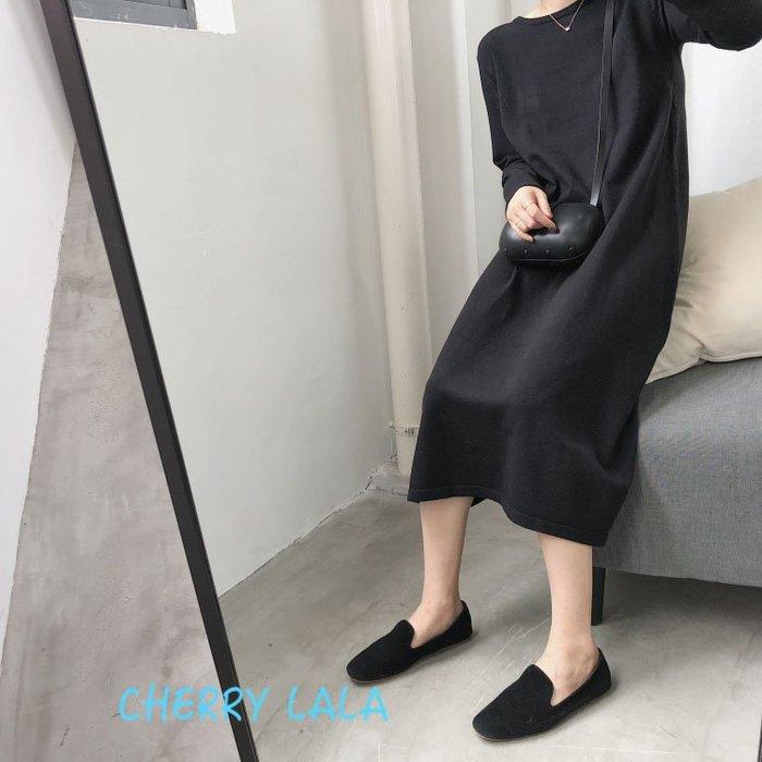 CHERRY LALA  韓。實拍簡約圓領顯瘦中長款針織連身裙長裙洋裝有腰帶-黑/條紋  AM08074 chic
