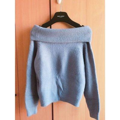 soft baby blue off shoulder cashmere blouse zara cos 超靚bb粉藍一字領 露肩 露膊 羊毛 針織 襯衫