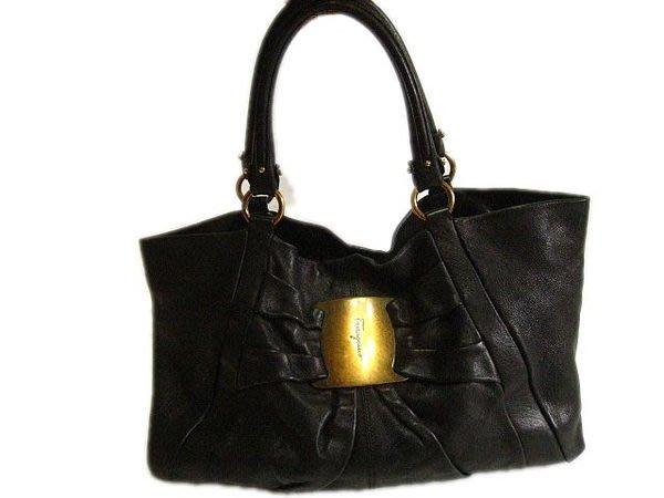 *Beauty*Salvatore Ferragamo大蝴蝶結黑色皮革大購物包 側肩背包 原價5萬多元