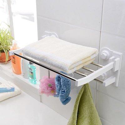 BbeeS 居家生活雜貨 吸盤浴巾架 免打孔衛生間吸壁式雙層創意強力吸盤式浴室毛巾架