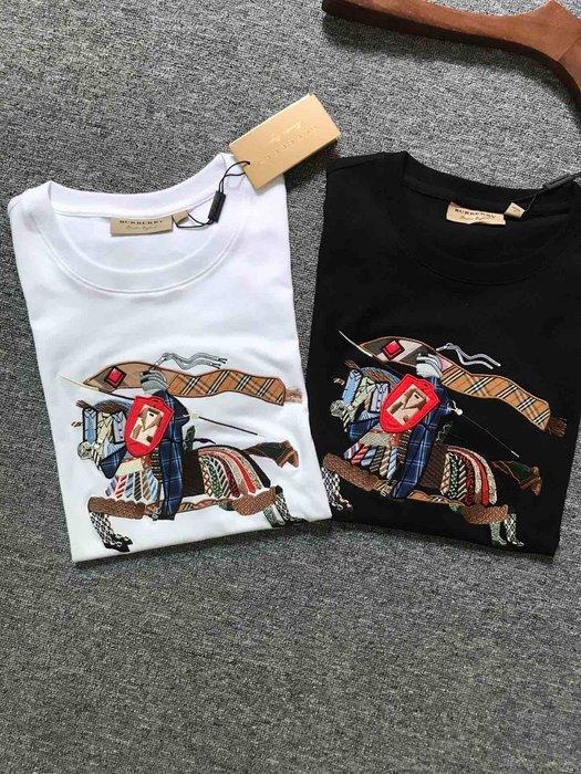 Chris精品代購 美國Outlet Burberry巴寶莉 春夏新款 短袖 T恤 情侶款 彩色大Logo刺繡 兩色任選