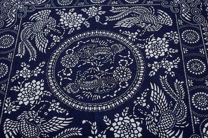 !!((中國藍Anewei))藍染布富貴鳳凰雙面印染方巾~150*150CM(門簾 窗簾 沙發巾 裝飾巾...) 原