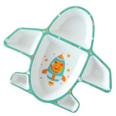 兒童餐盤 吃飯陶瓷創意卡通飛機盤子碗可愛分隔家用分格盤BLBD 百貨