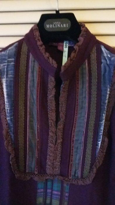 香港貴婦愛牌慕詩【MOISELLE 】薰衣草紫絨花邊長袖上衣