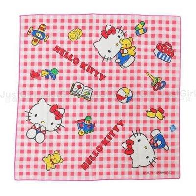 HELLO KITTY 便當包巾 包便當 餐巾 桌巾 桌布 粉紅格紋 餐具 居家 正版日本製造進口 JustGirl
