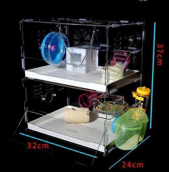 【優上精品】??亞克力水晶透明雙層倉鼠籠子 豪華別墅超大 相親熊籠子城堡(Z-P3124)