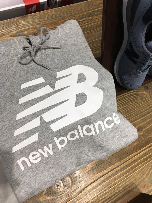 【豬豬老闆】New Balance 男 灰 白 LOGO 經典 NB 長袖上衣 大學T 衛衣 帽T AMT63551AG