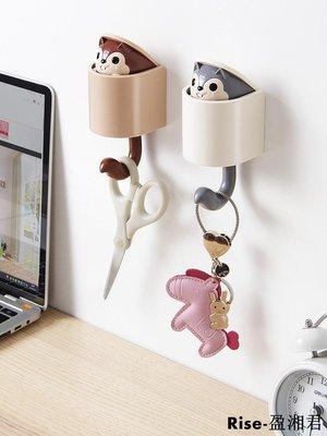 創意松鼠掛鉤卡通可愛壁掛粘鉤鉤子強力玄關門口衣帽鉤鑰匙掛鉤