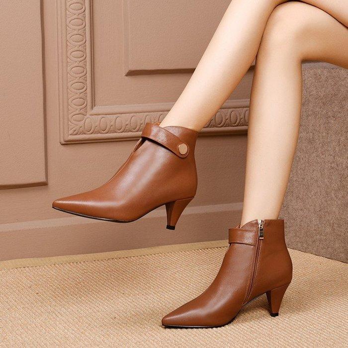 『Alice❤愛麗絲』時尚切爾西靴尖頭皮面女靴子秋款真皮小跟高跟鞋純皮單靴短靴