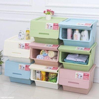 ✿翻蓋式收納箱✿ 收納箱塑料斜翻蓋透明側開 整理箱 前開式兒童玩具零食收納盒 儲物箱