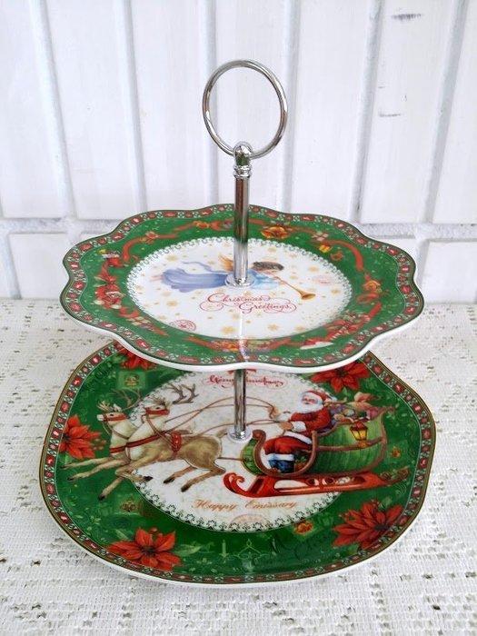 蘇菲亞精品傢飾~ 義大利聖誕節雙層點心架餐盤擺飾/特價促銷