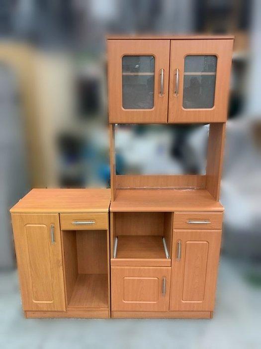 【宏品二手家具館】中古家具 家電 A11202*木紋色餐櫃*電器架 高低櫃 沙發 茶几  便宜二手傢俱賣場 租屋套房傢俱