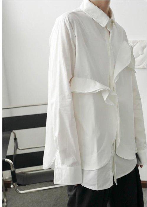 FINDSENSE X  男士 長袖寬松 休閑簡風不對稱系帶襯衫男韓版寬松襯衫