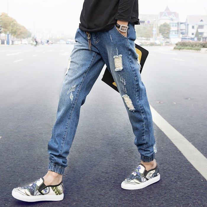 乞丐牛仔褲哈倫褲破洞男式牛仔束腳褲乞丐褲修身韓版優質好貨 修身牛仔褲
