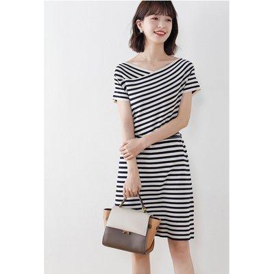 夏 V領條紋北歐風洋裝 連身裙顯瘦裙新...