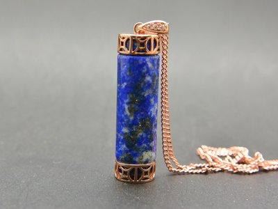 #超值 500圓專區 # 天然青金石 撒金Lapis lazuli 翎管送鍊 (9713)