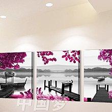 【厚2.5cm】紫色樹山水-客廳現代簡約裝飾畫無框畫【190114_304】【50*50cm】1套價