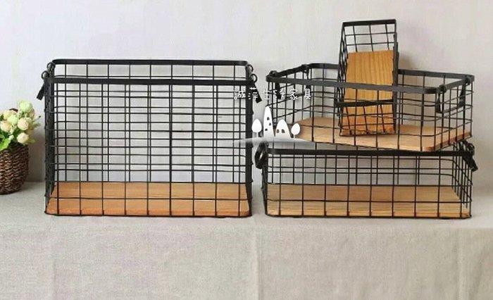 ~誠萍~美式復古日本雜貨Zakka鐵藝雙耳雜貨收納籃 鐵衣長方籃 雜物鐵線籃(咖啡色)直購價 $799