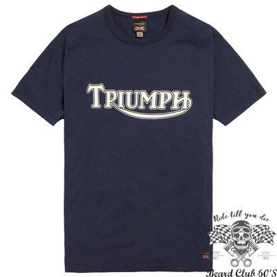 ♛大鬍子俱樂部♛ TRIUMPH ® FORK SEAL TEE 英國 原裝 凱旋 復古 騎士 短袖 純棉 T恤 深藍