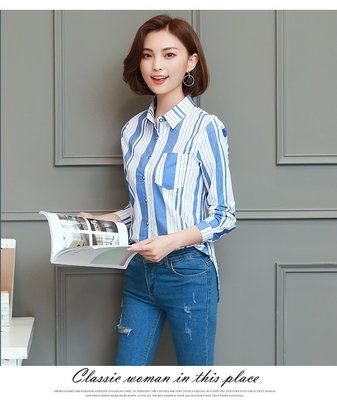 韓版時尚休閒寬鬆條紋長袖襯衫(B款)(...