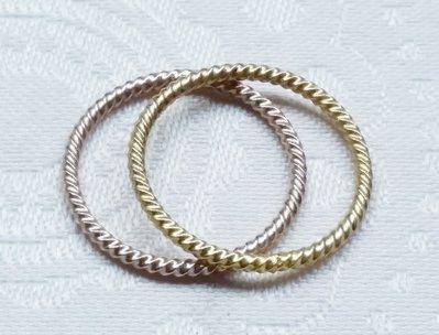 嗨,寶貝手創飾品工作室* 925純銀飾☆混搭風 時尚麻花造形鍍金,鍍玫瑰金純銀戒指
