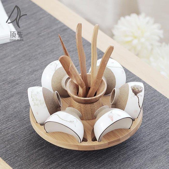 【免運費】竹制雙用茶道六君子杯架 茶道配件 杯架 六君子茶夾茶勺茶則QD3C-Y435