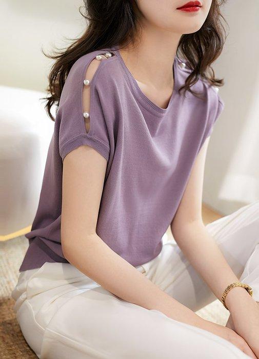 珍珠裝飾蝙蝠袖針織衫 2204