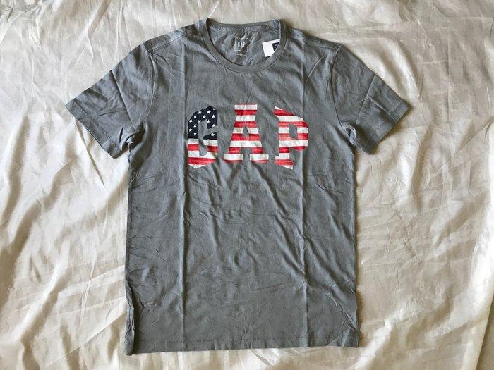 【天普小棧】GAP Americana Logo Tee美國國旗圓領短袖T恤 棉T灰色 S/M/L/XL號現貨抵台