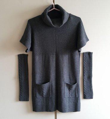 長版短袖毛衣+袖套
