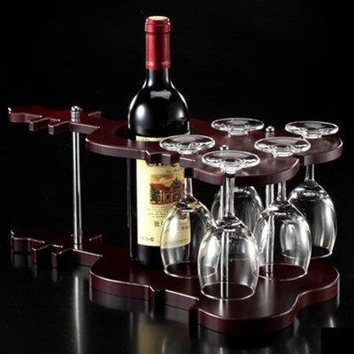 5Cgo【宅神】含稅會員有優惠 7687515662 複古紅酒架木質可倒掛紅酒杯小提琴款創意時尚杯架酒吧