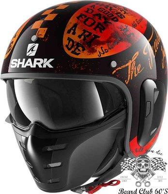 ♛大鬍子俱樂部♛ SHARK® S Drak 2 Tripp In 法國 復古 Jet 新版 麂皮內襯 安全帽 紅色