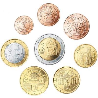 【幣】EURO 奧地利2002歐元發行首年1 cent ~ 2€ 全新8枚一組