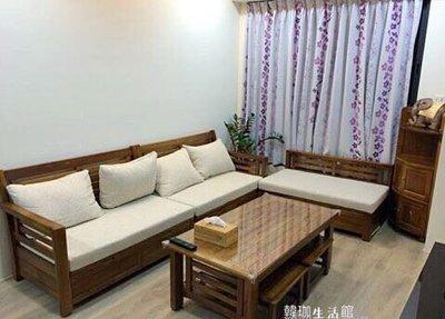 [韓珈柚木wood](無現貨預購中)L型沙發➕大茶几柚木實木椅組 日式簡約柚木風 客廳柚木椅 百分百印尼柚木