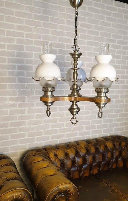 【卡卡頌  歐洲古董】🌾義大利 ~ 兩種風格 油燈造型  古典  鄉村  木雕  吊燈  l0357 ✬
