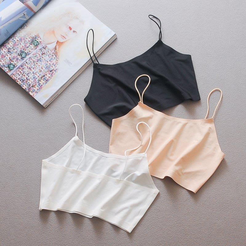 夏季白色防走光吊帶背心短款抹胸冰絲打底內新衣薄款美背無痕裹胸新款女