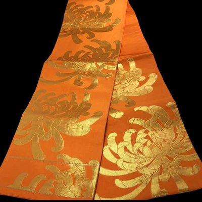 【茶】日本和服腰帶 名古屋帶 袋帶 金系 橘色系  26-255