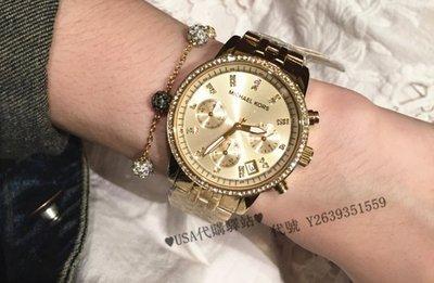 ♥USA代購驛站♥ 100%美國全新正品 MK鑲鉆時裝腕錶 MK5698 金色 精鋼錶帶 三眼計時 日曆 女士手錶