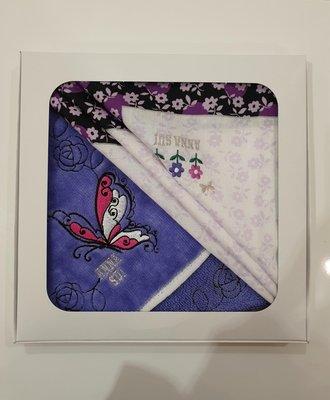 ANNA SUI安娜蘇 純棉絲質手帕禮盒(手帕+毛巾)  有禮盒包裝 2019.09 日本百貨公司購入