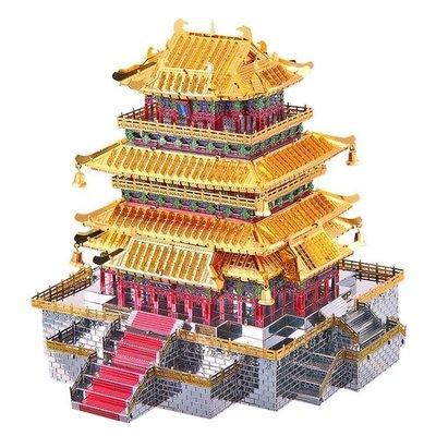 3d立體拼圖金屬拼裝模型鸛雀樓古建筑diy